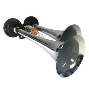 "Watts Wheels Premium Truck Accessories - Part#: 1000-12 12"" Dual Chrome Yankee Horn (12v/24v)"