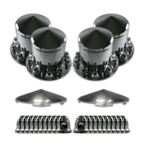 Watts Wheels Premium Truck Accessories - AFKL001RCC |Chrome Axle Cover Kit with removable Cone Hubcap